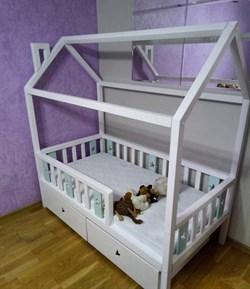 """Кроватка """"Домик со звездами"""" - с бортиками и ящиками - фото 5251"""